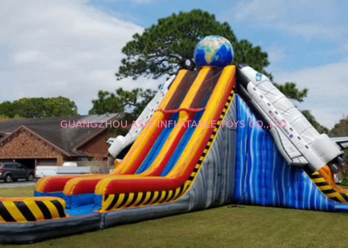 Colorful Giant Inflatable Slide With Double Lanes / Adult Water Wave Slide